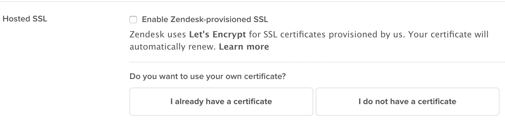 Zendesk SSL direct provisioning